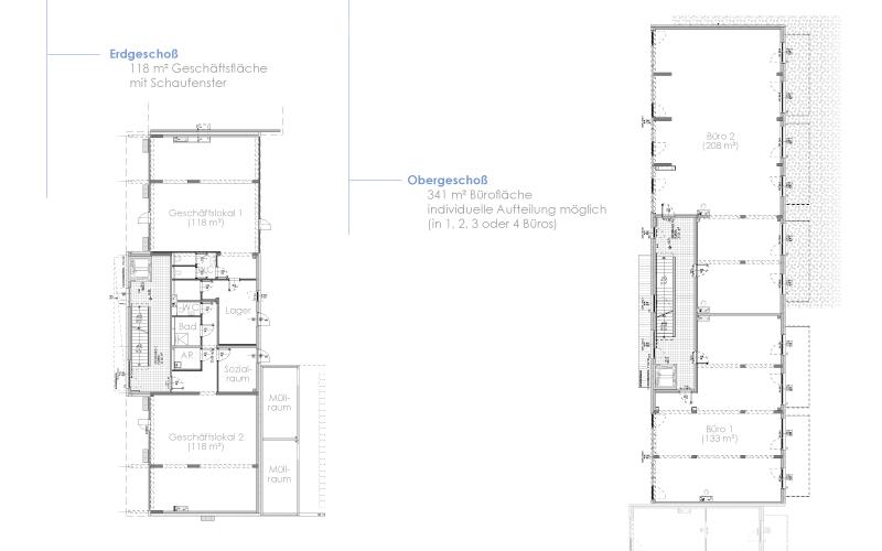 Büro- und Gewerbeflächen, Übersichtsplan Erdgeschoß Geschäftsflächen, Obergeschoß Büroflächen